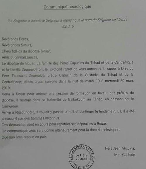 Un prêtre centrafricain assassiné au Cameroun