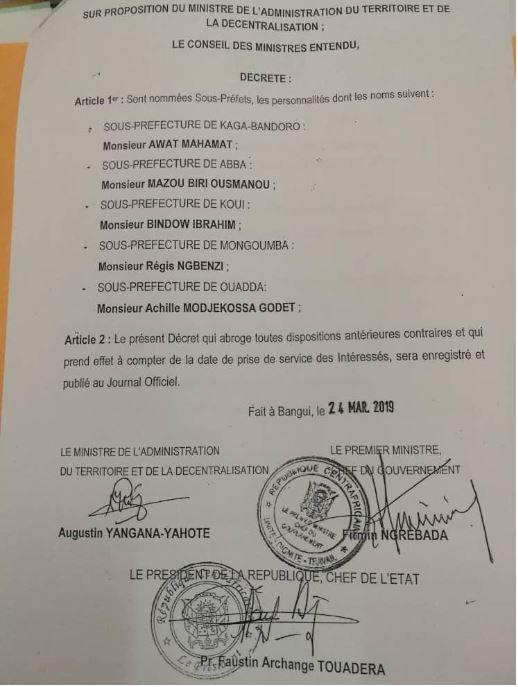 Pour la paix Touadéra nomme plusieurs seigneurs de guerre à la primature
