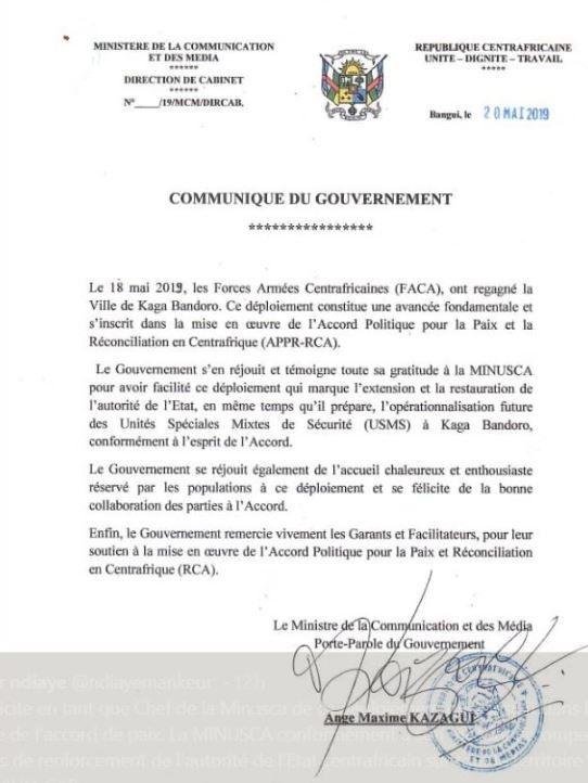 Kaga Bandoro : le Gouvernement Centrafricain félicite la Minusca