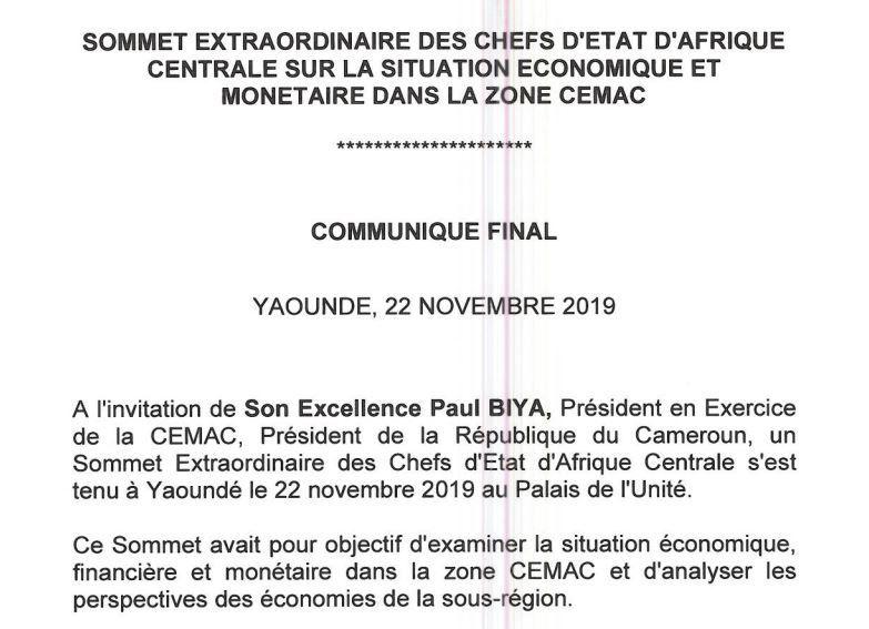 Sommet extraordinaire de la CEMAC de Yaoundé: Communiqué final