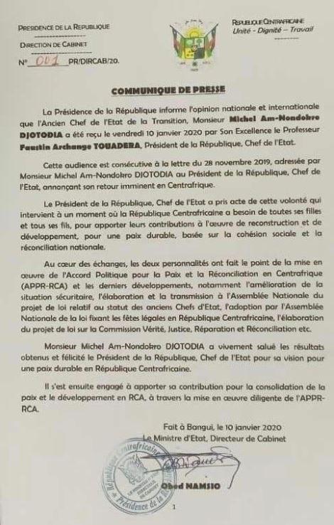 Entretien du Président Touadera avec Michel Djotodia