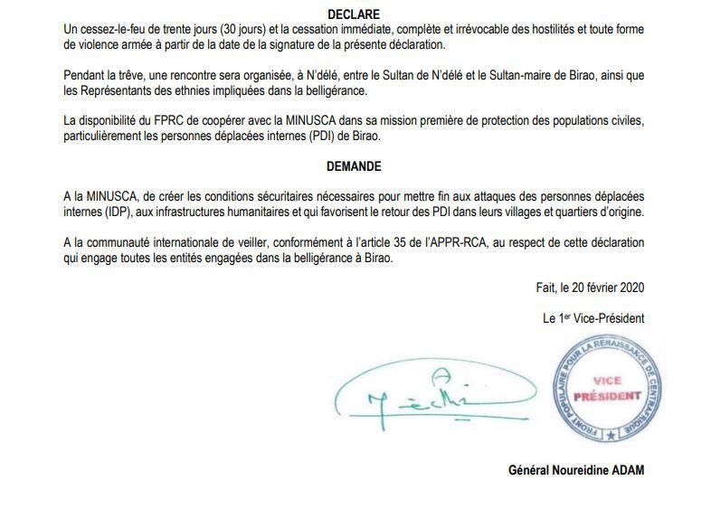 DECLARATION DE CESSATION DES HOSTILITES A BIRAO