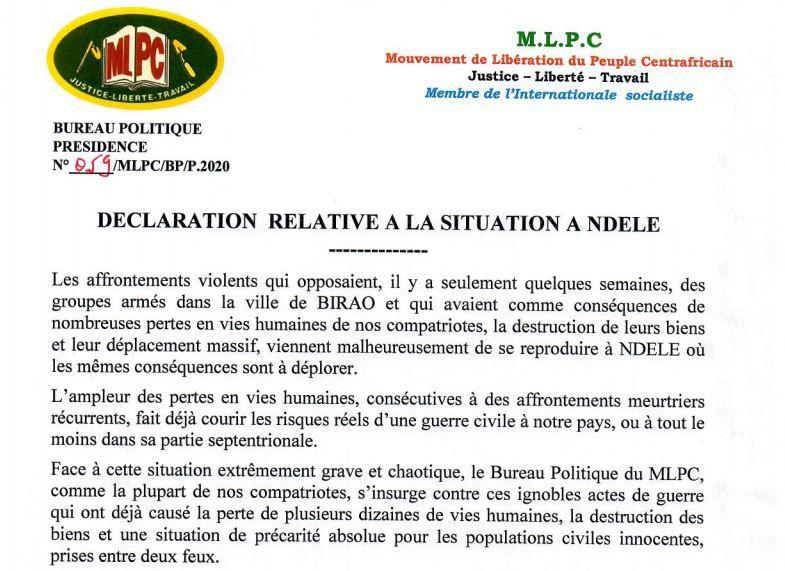 Le MLPC et Martin ZIGUELE condamnent fermement les massacres de Ndélé