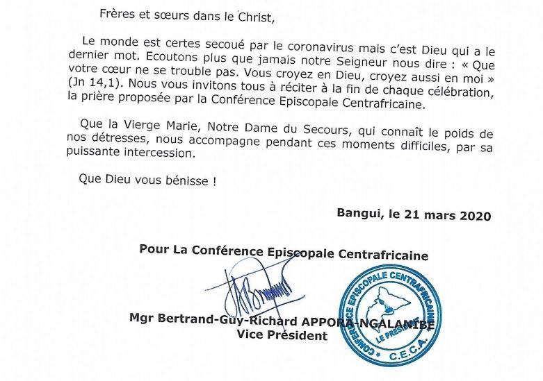 COMMUNIQUE DE PRESSE DE LA CONFERENCE EPISCOPALE DE RCA