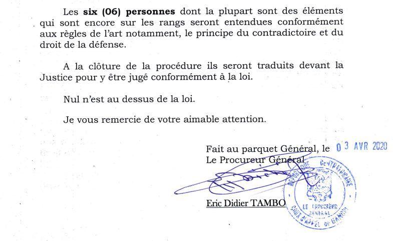 COMMUNIQUE DE PRESSE DU PARQUET GENERAL