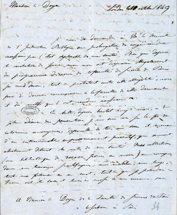 Lettre de Libri au doyen de la faculté des sciences, 10 octobre 1849 © Centre historique des archives nationales, F17 21184 34