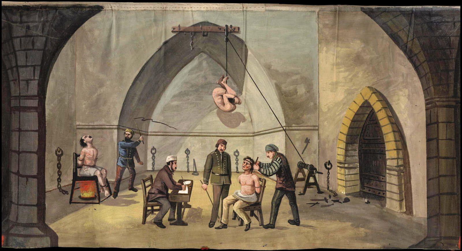 """""""La chambre des horreurs. La prison de Monreale en Sicile"""", gouache de John James Story (1827-1900), 1860 (coll. Brown University)."""