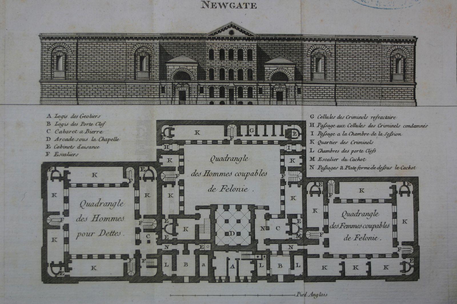 """Prison de Newgate (vol. II, pl. 20). """"Etat des prisons, des hôpitaux et des maisons de force"""". Paris : Maradan, 1791. 2 vol. Cote BIU Lsh : 68763/1 et 68763/2"""
