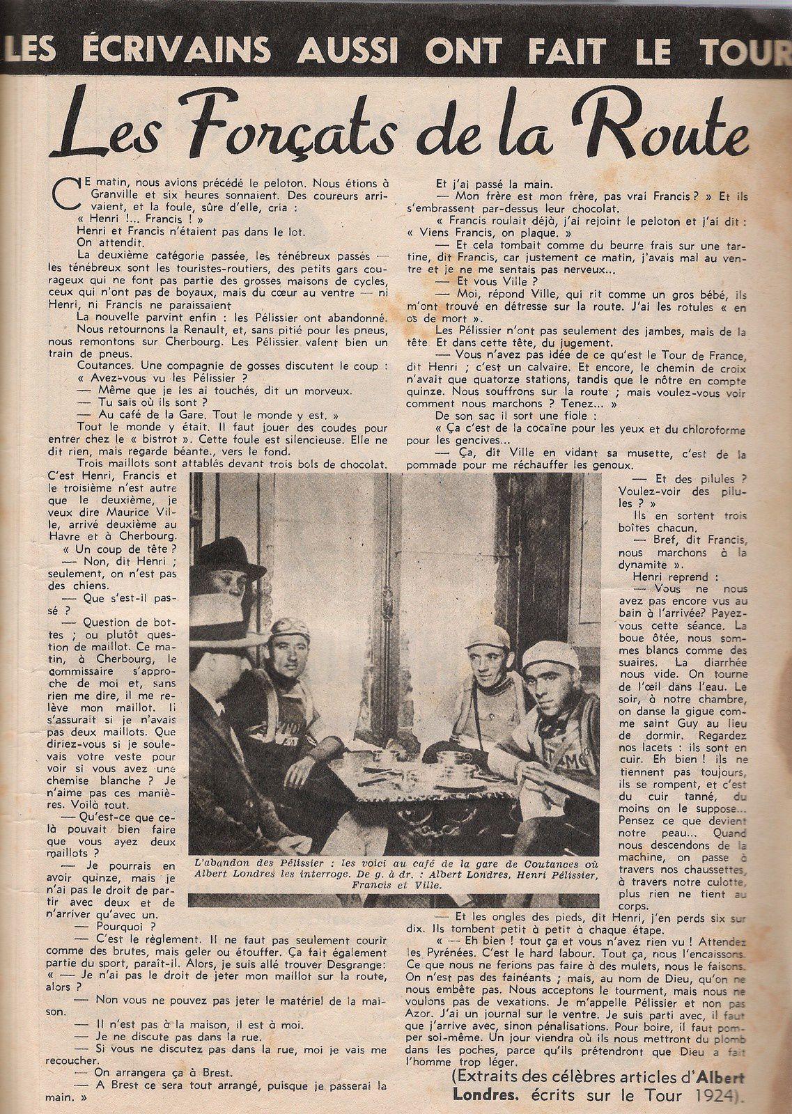 (Extraits des célèbres articles d'Albert Londres, écrits sur le Tour 1924) - Collection personnelle Philippe POISSON