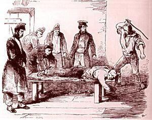 Le dessin représentant la bastonnade au bagne de Toulon est de Pierre Letuaire   Bagnards et forçats d'après les dessins de Pierre Letuaire (1798-1885), correspondant de presse à « l'Illustration » ·