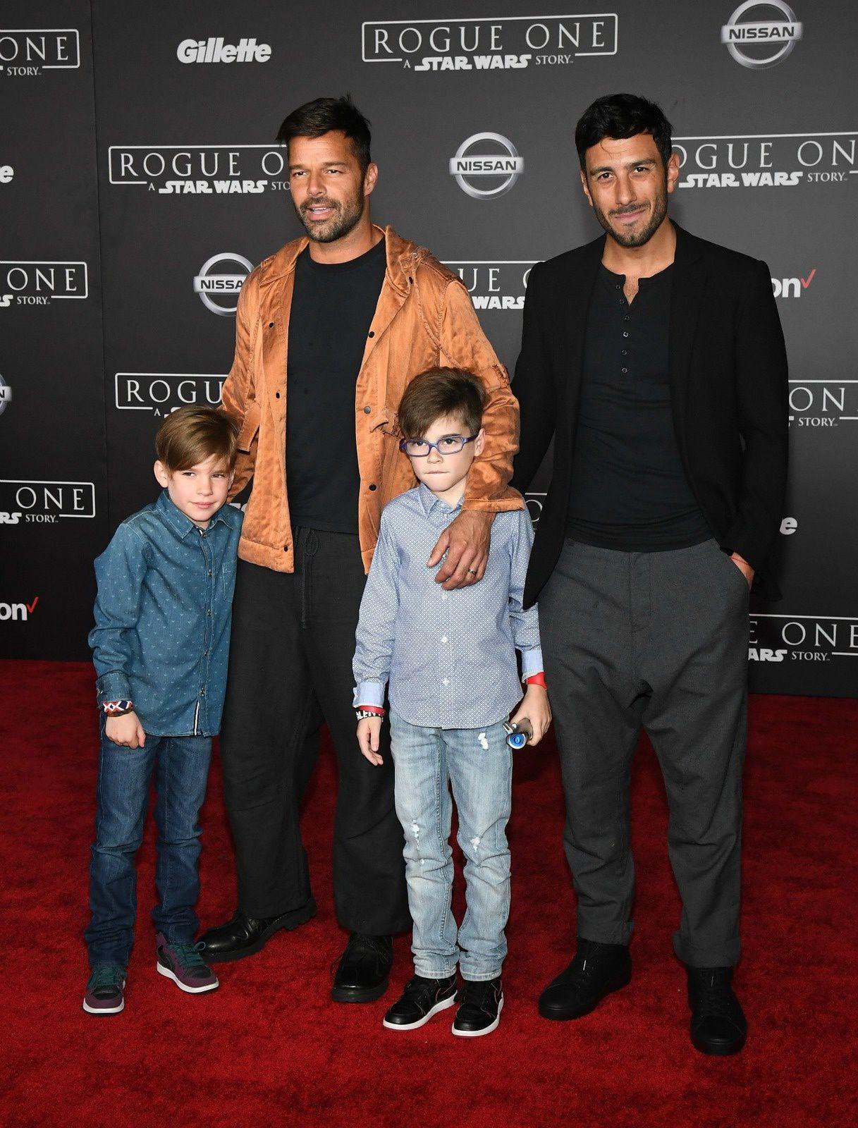 Ricky Martin en famille à l'avant première de Rogue One