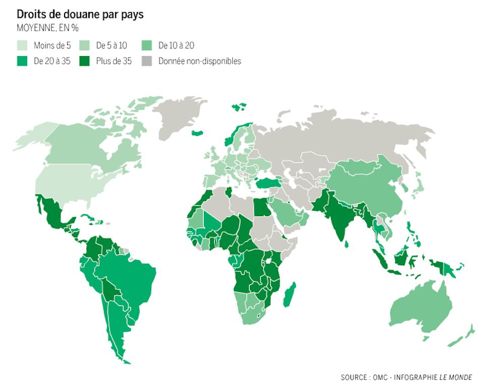 Droits de douane par pays  Moyenne en % Source: Le Monde, 8-9 décembre 2013