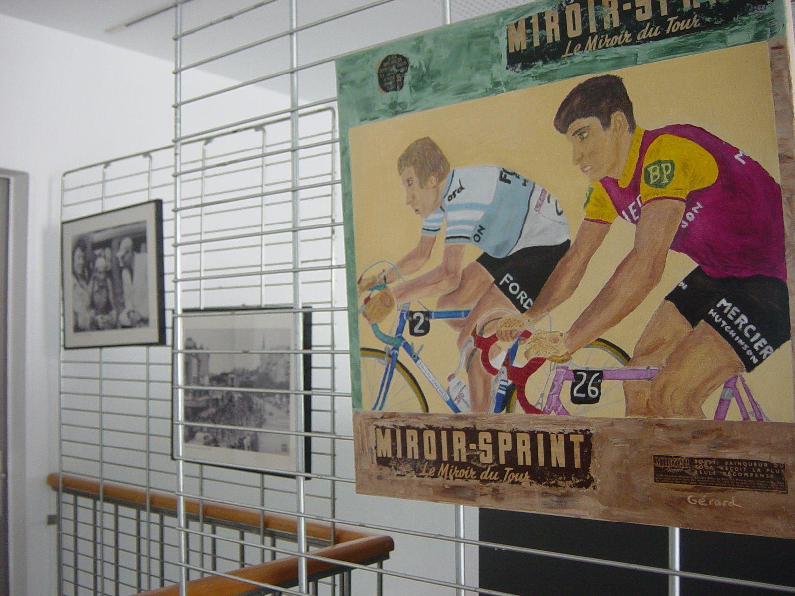 Cadre des TDF représentant le passage des coureurs dans les cols Pyrénéens.