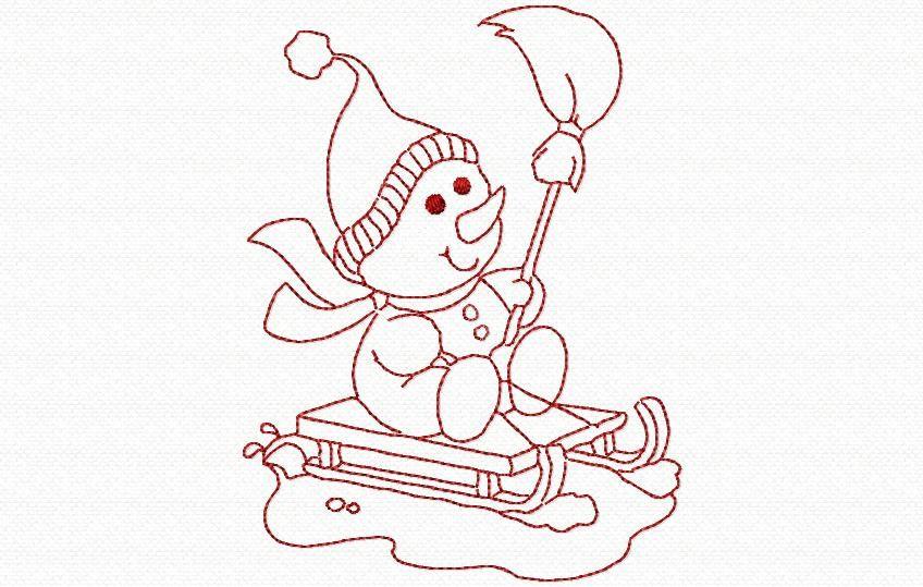 un bonhomme de neige et son traineau