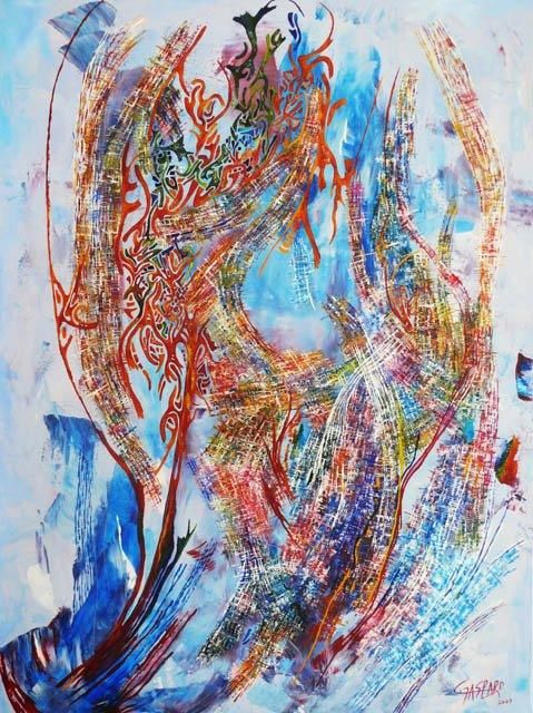 """TIME IS LOVE"" 2007  Peinture, 73 x 100 cm par Yolande Gaspard Artiste Peintre"