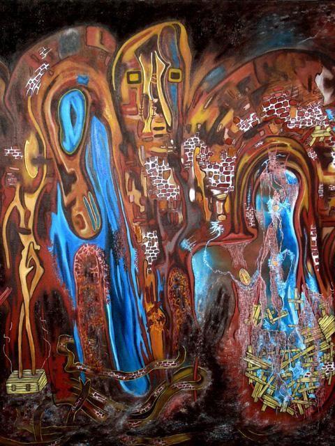 """""""DERNIERE SECONDE AVANT RENAISSANCE"""" 2000  Peinture, 60 x 73 cm par Yolande Gaspard Artiste Peintre"""