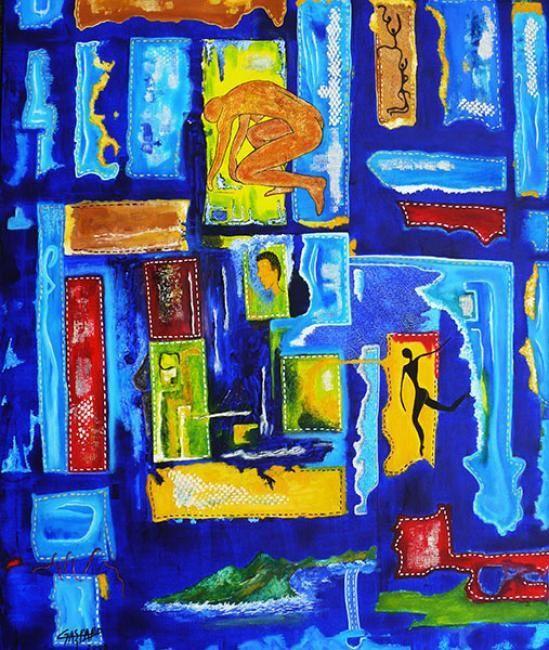"""""""LEVE TOI, ET MARCHE !""""2003  Peinture, 60 x 73 cm par Yolande Gaspard Artiste Peintre"""