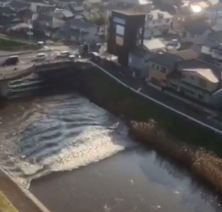 Arrivée de la vague à 8h41 à Tagajo, près de Sendai (@yabatters)