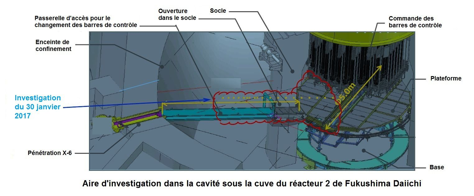 Aire d'investigation (Illustrations d'après des documents Tepco)