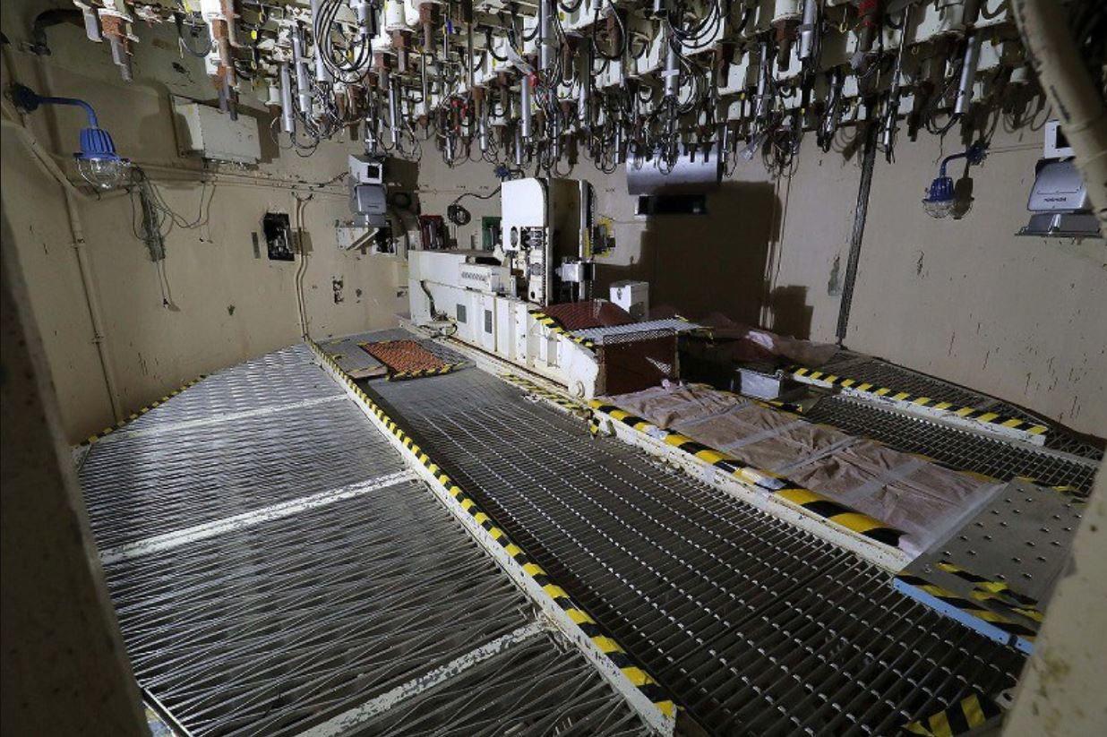 La plateforme sous la cuve du réacteur 5 (photo Mainichi)