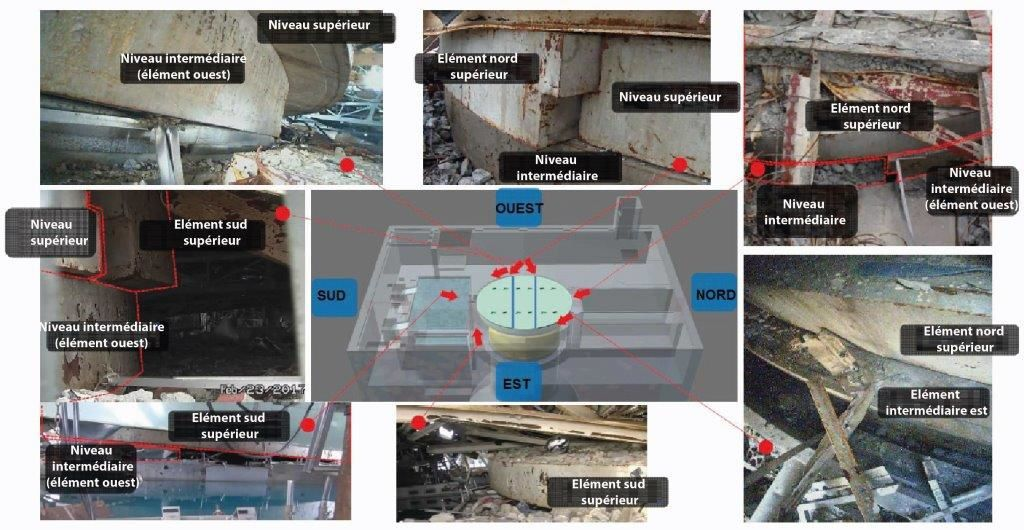 Photos des dalles du puits de cuve du BR1 (document Tepco traduit)