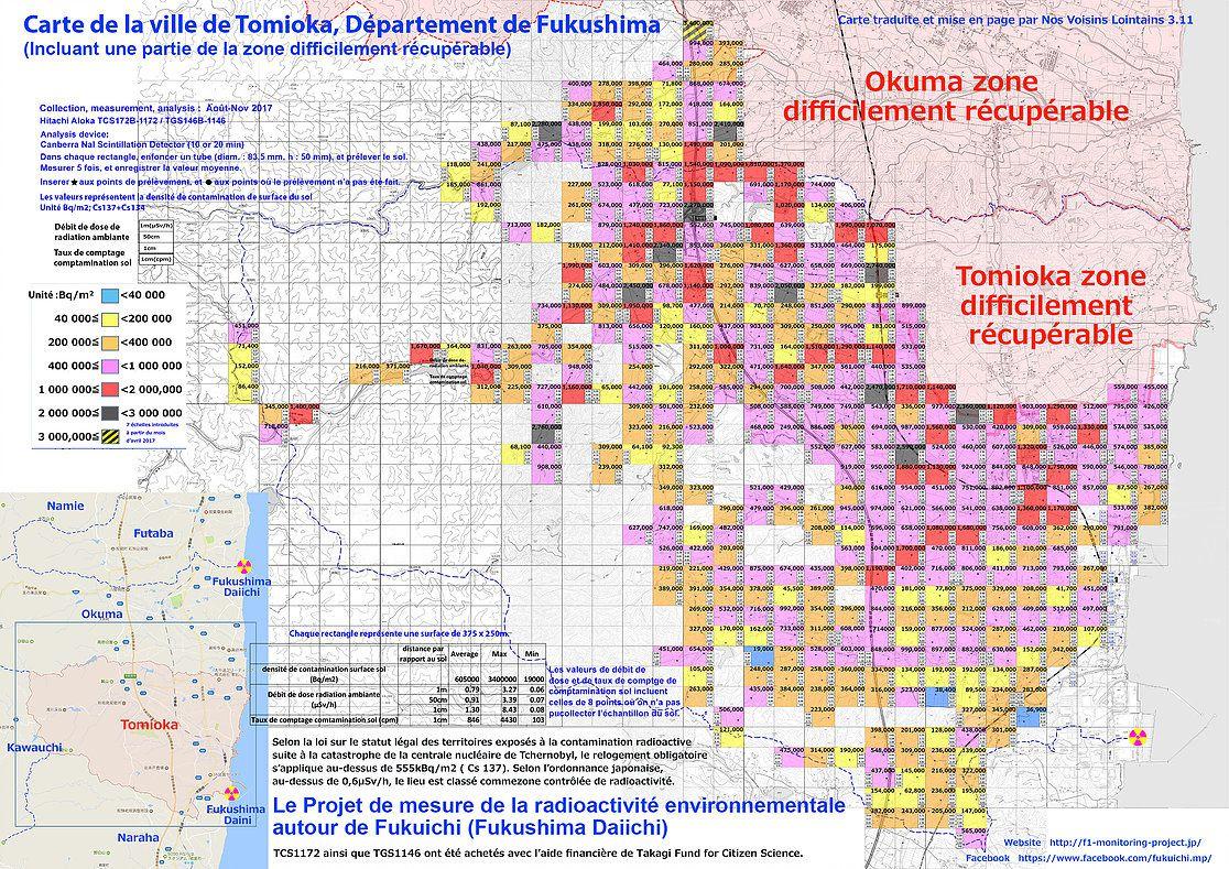Dernière carte de la pollution radioactive effeectuée par des citoyens pour Tomioka