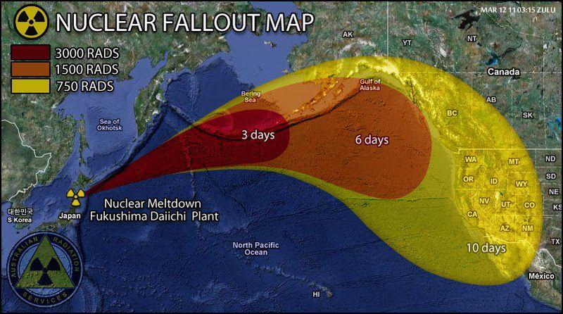 Source : de très nombreux sites avec, comme origine de la carte : « Australian Radiation Service »