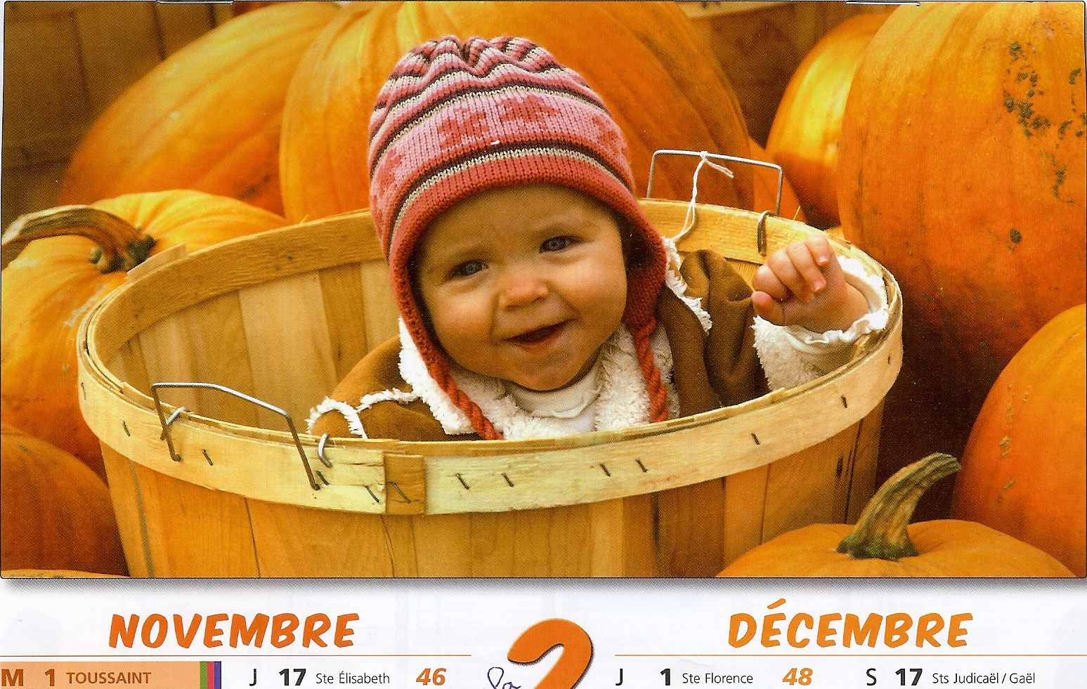 couleur orange sur calendrier