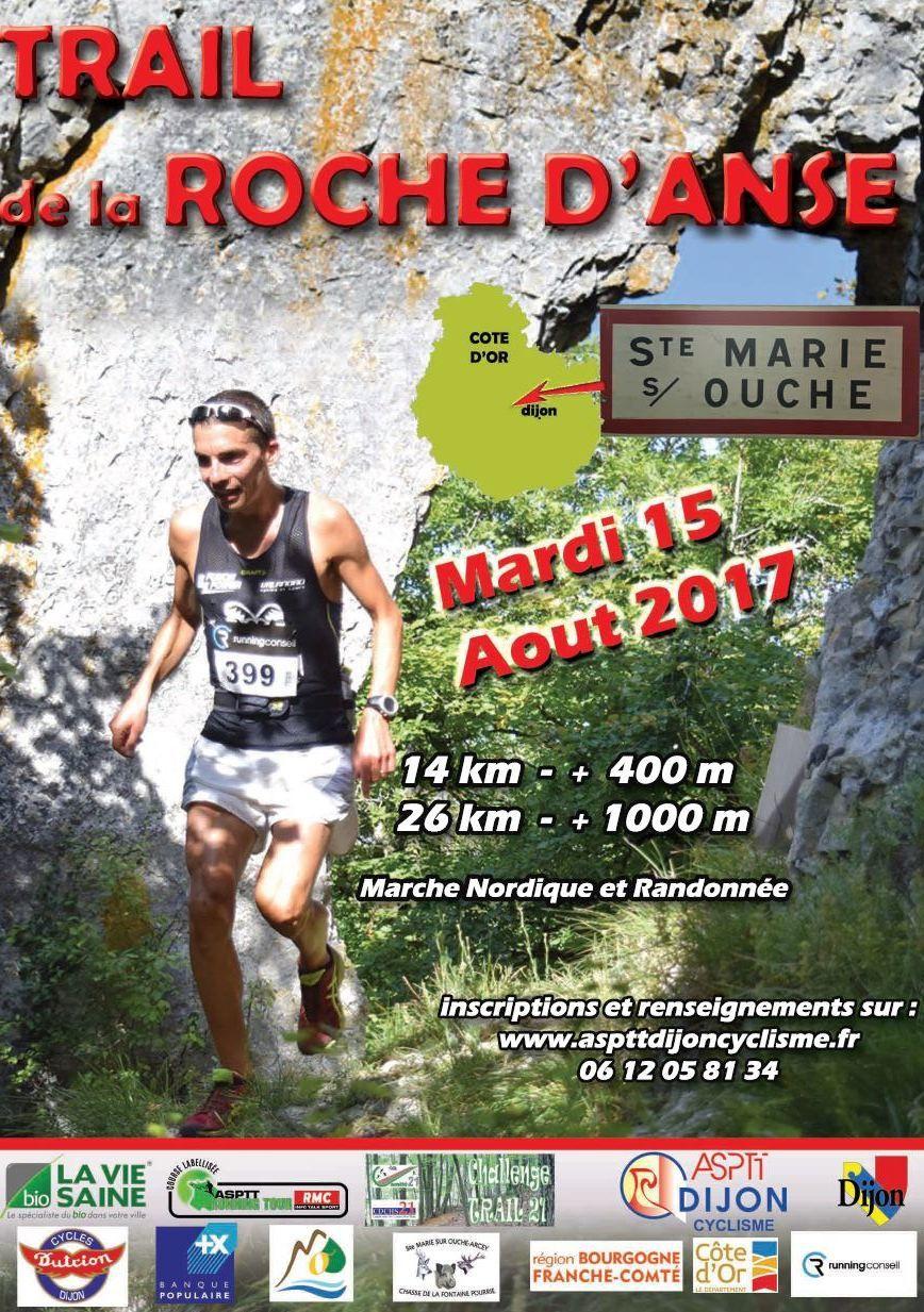 Mardi 15 août 2017 -  Trail de la Roche d'Anse - Sainte-Marie-sur-Ouche