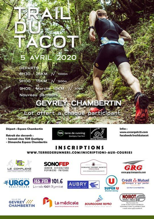 Dimanche 5 avril 2020 - Le Trail du Tacot - Gevrey-Chambertin - ANNULE