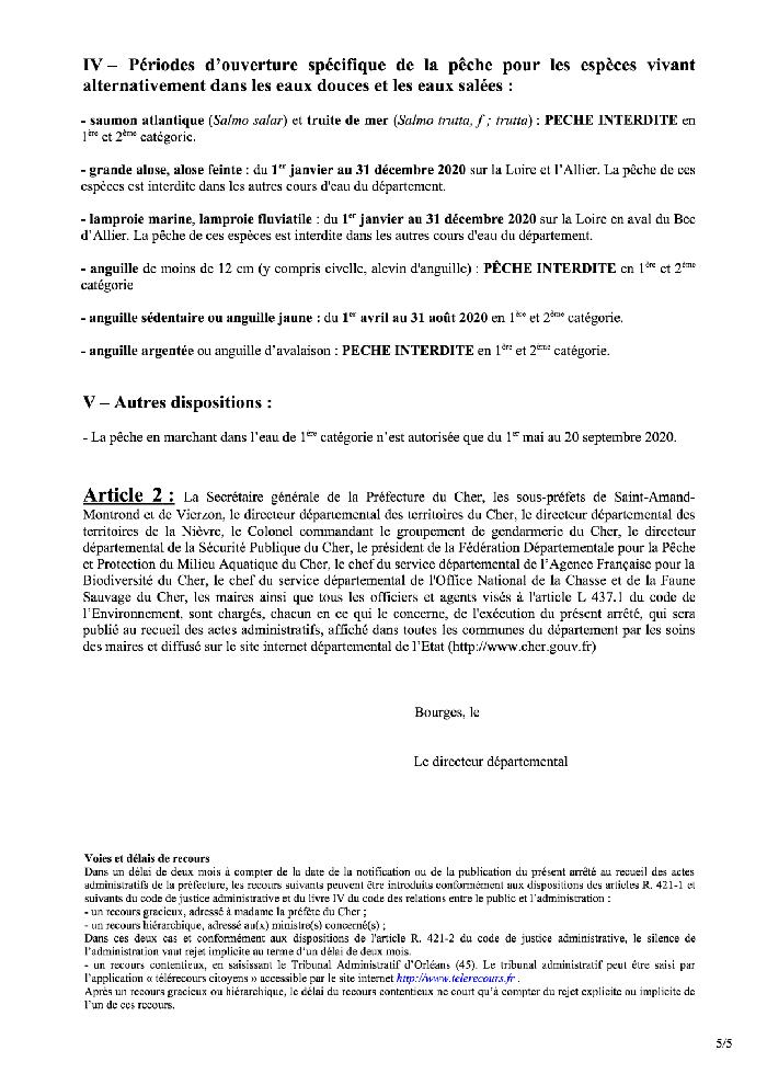 DATES D'OUVERTURE DE LA PÊCHE EN 2020
