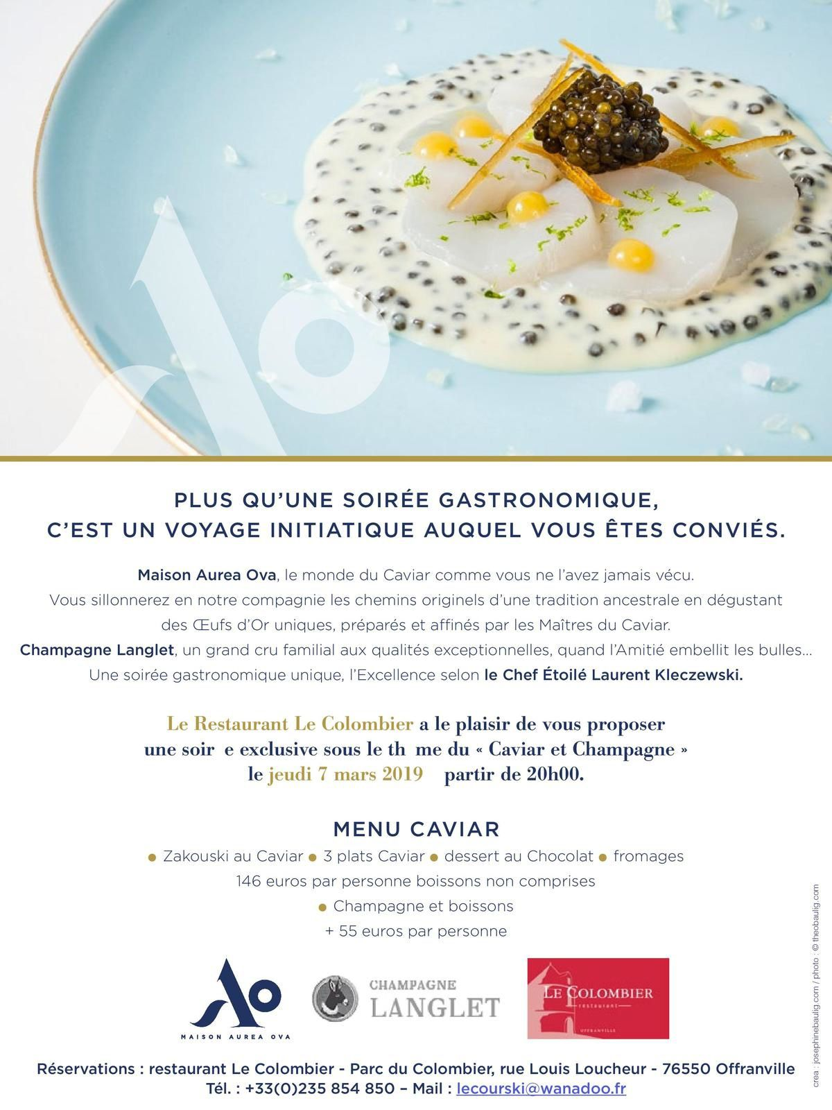Soirée caviar Restaurant Le Colombier Offranville