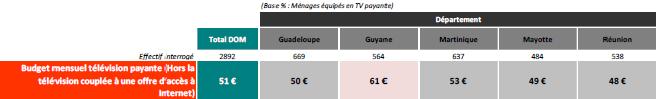 Budget moyen consacré à la télévision payante (hors TV par ADSL)