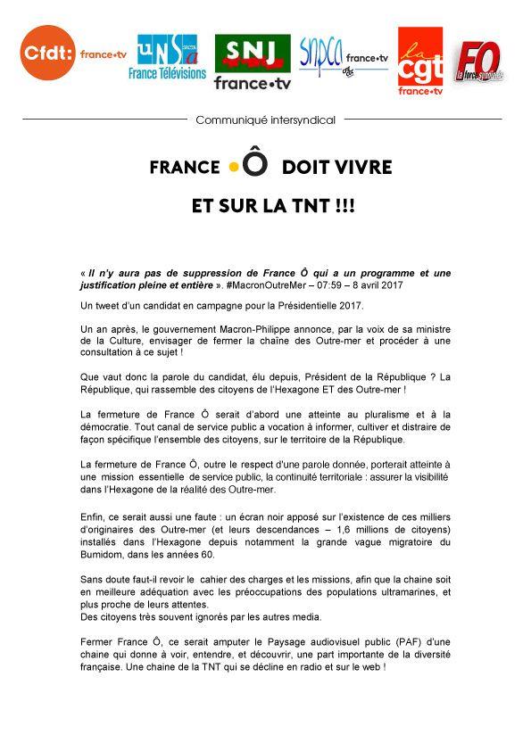Communiqué intersyndical : France Ô doit vivre et sur la TNT !!!