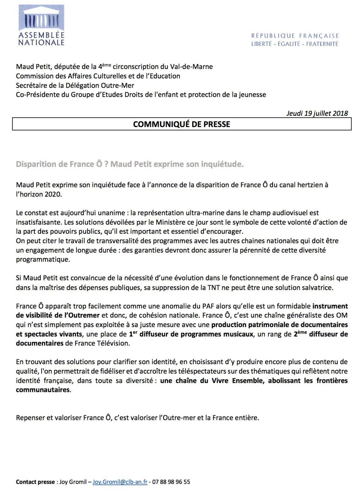 France Ô : Maud Petit, secrétaire de la Délégation Outre-Mer exprime son inquiétude !