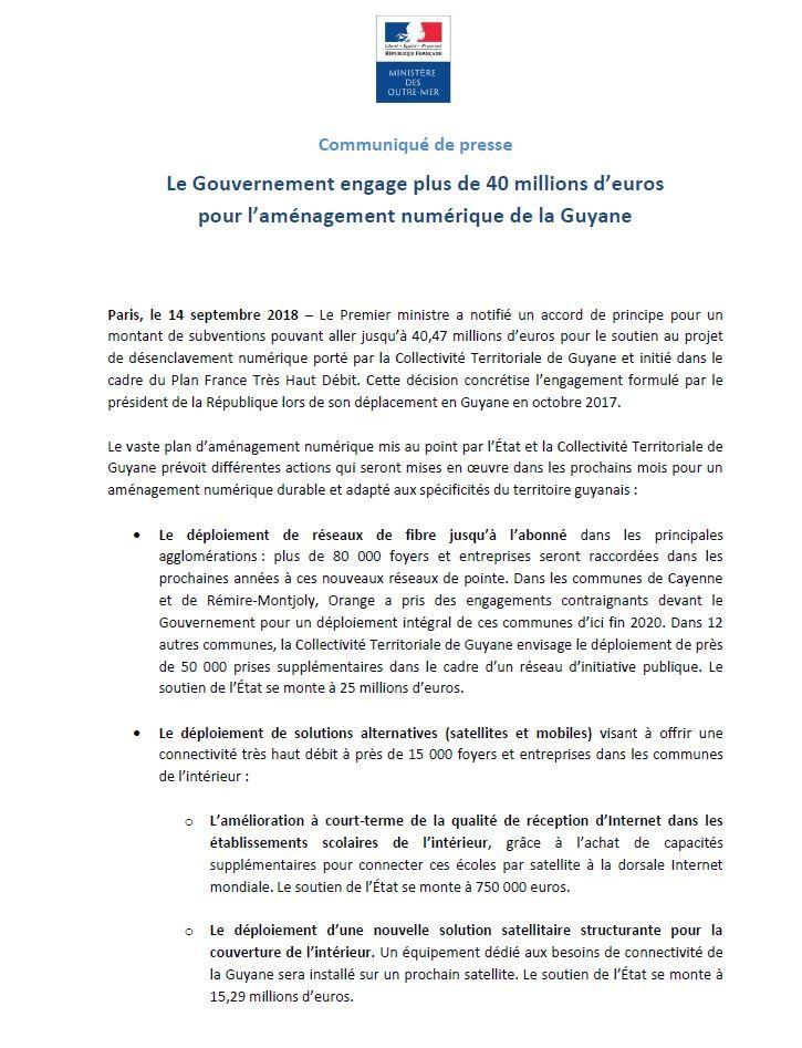[communiqué de presse] Aménagement numérique : Le Gouvernement engage plus de 40 M€ en Guyane !