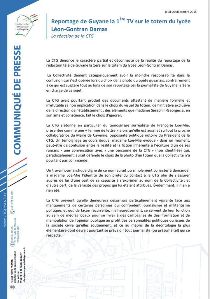 Communiqué de presse de la CTG à propos d'un reportage de Guyane la 1ère