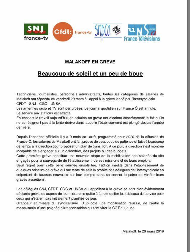 CFDT/SNJ/CGC/UNSA : France Ô/La 1ère en grève ! [communiqué de presse]
