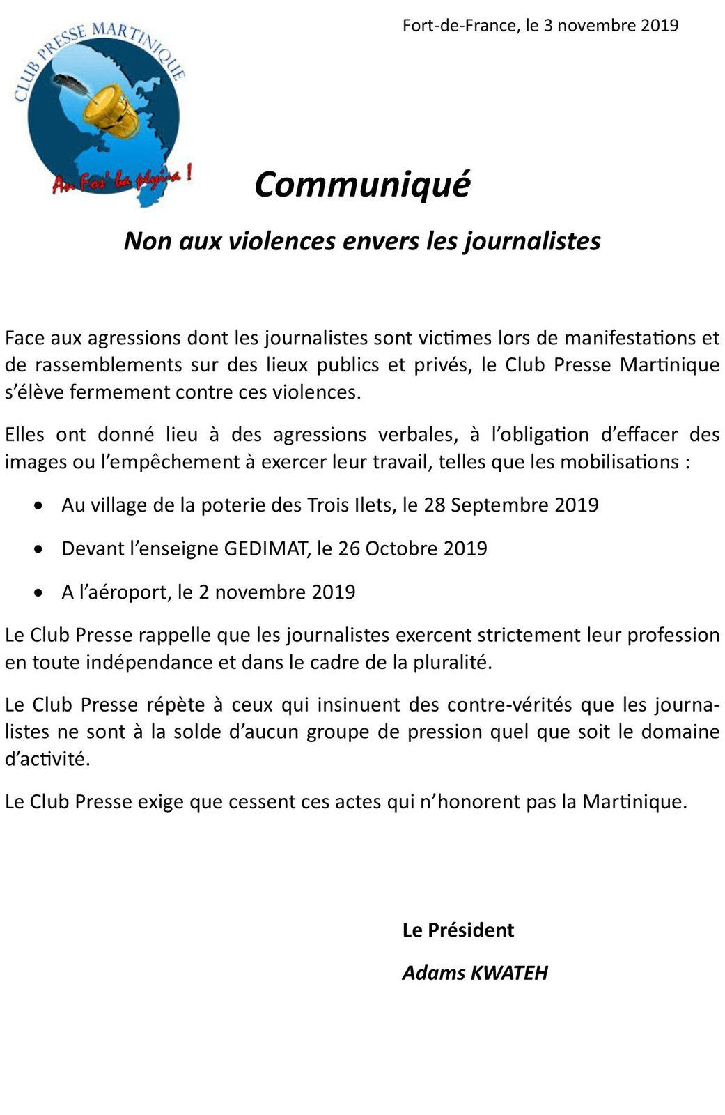 "Club Presse Martinique : ""Non aux violences envers les journalistes"""