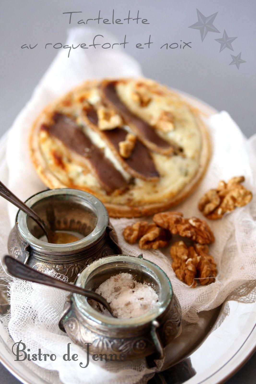 Tartelette au roquefort et noix et magret séché