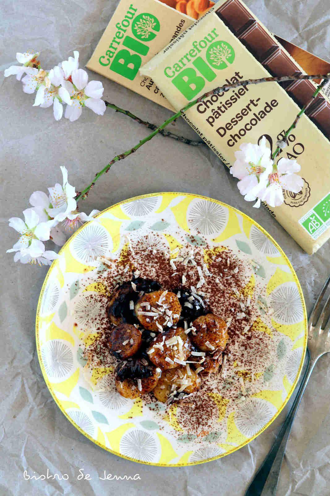 Bananes flambées au chocolat noir bio