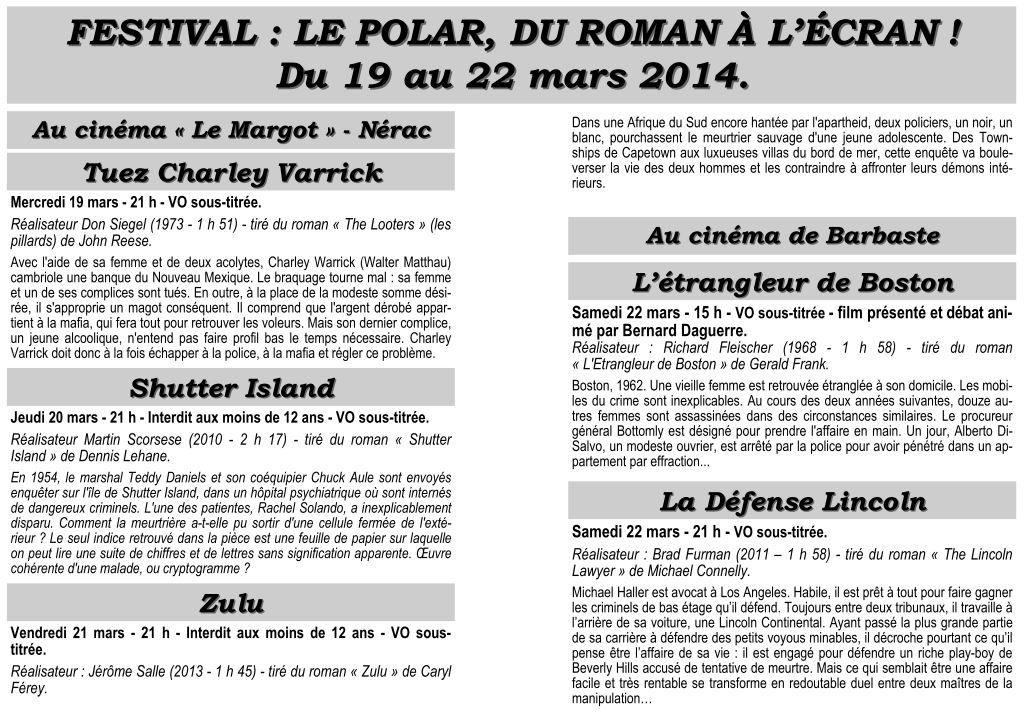 19-22 mars, Nérac (47) du roman au film