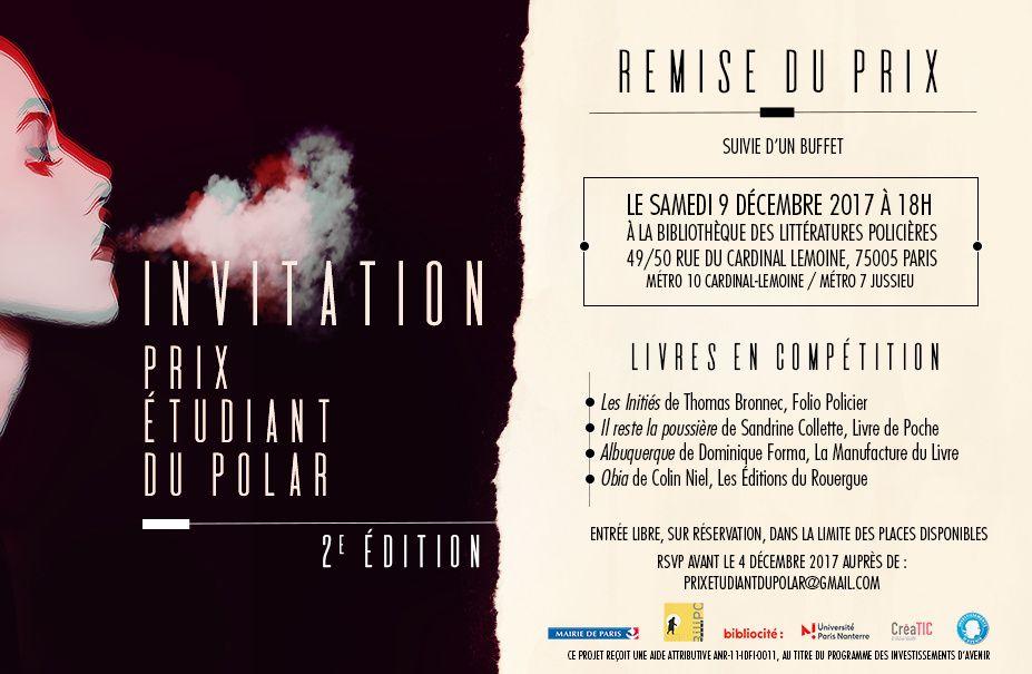 INVITATION - 2e Prix étudiant du Polar - 9 décembre -
