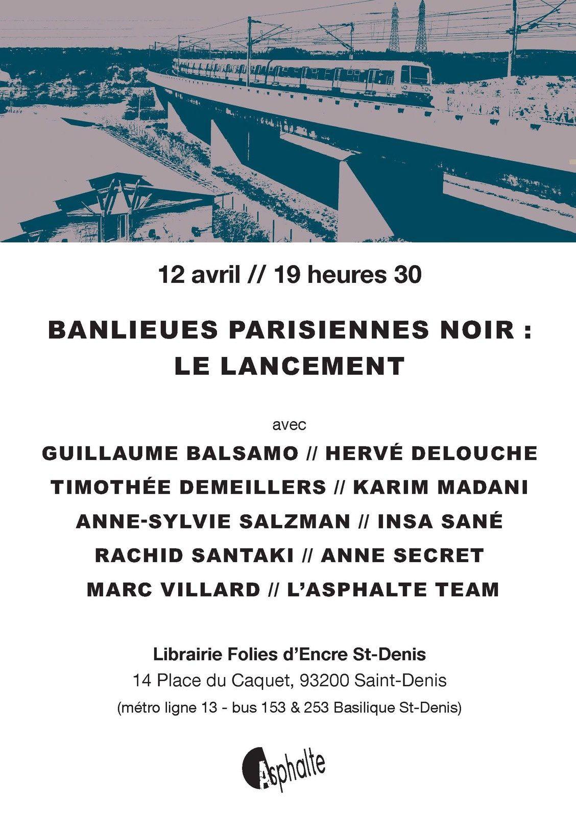 Lancement du recueil 'Banlieues parisiennes noir', le 12 avril