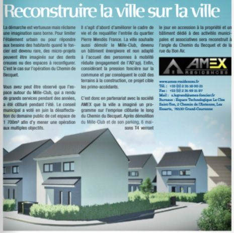 Article de Pont-de-l'Arche magazine qui informe la population de la destruction du Mille club (septembre 2017).