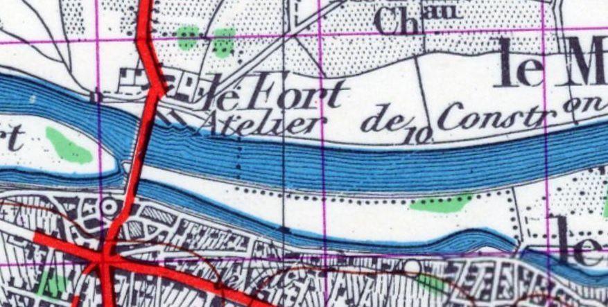 Détail d'une carte des années 1950 indiquant la présence du chantier de construction (Géoportail).