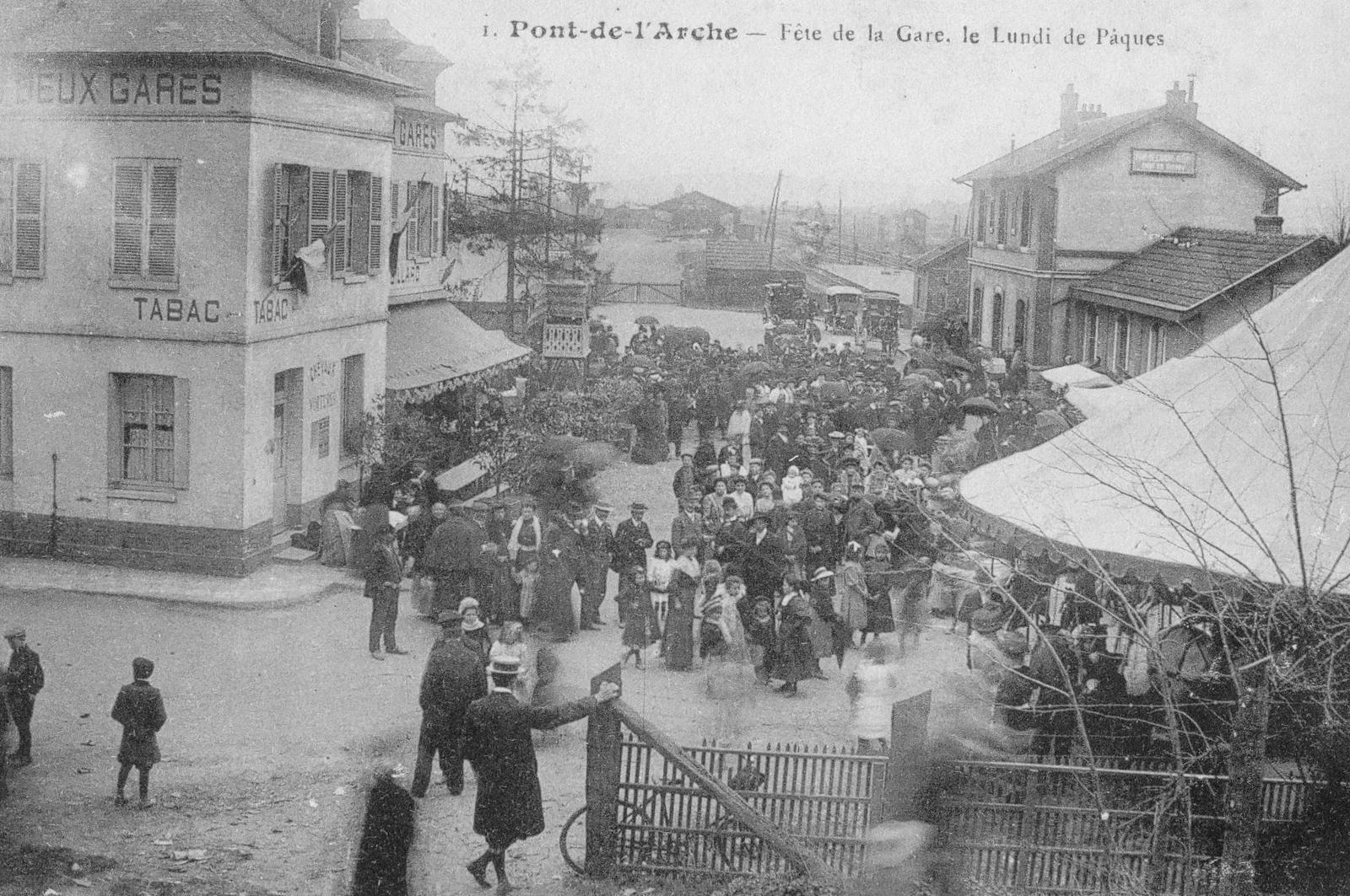 La fête de la gare sur une photographie des années 1910.