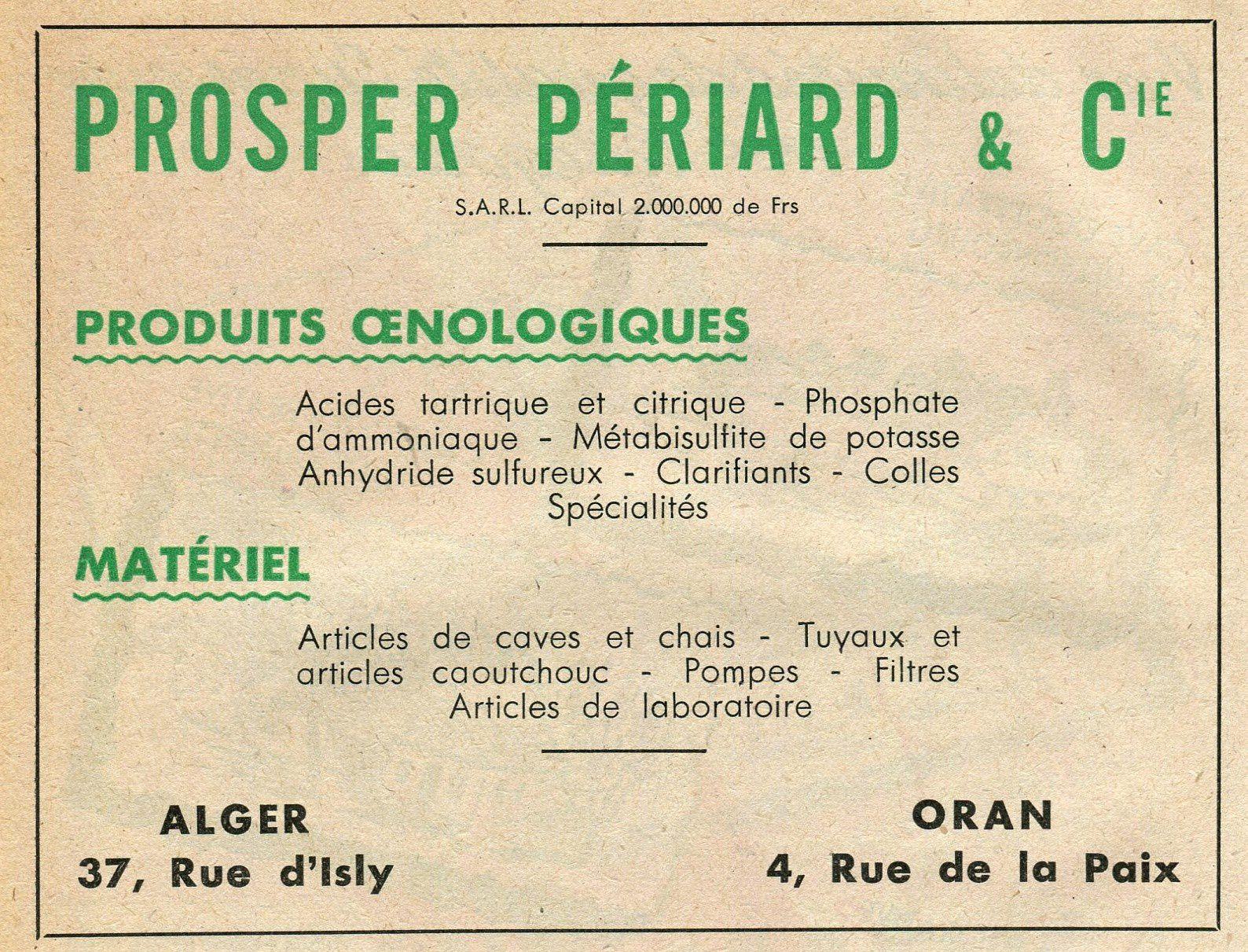 Publicités matériel et fournitures oenologiques 1947.