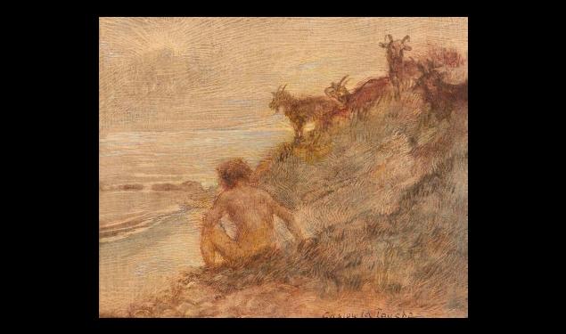 Deux huiles sur carton : Nu à la colombe et Nu en bord de mer et chèvre