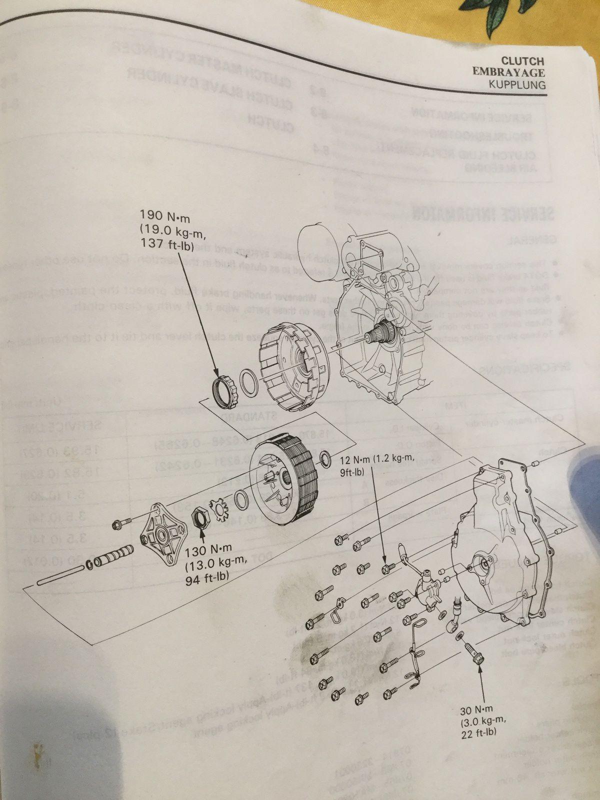 Unsersbande Goldwing - 1500 remplacement de l'embrayage